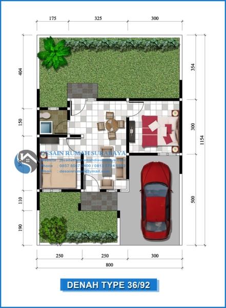Jasa Desain Denah Rumah Type 36 di Surabaya