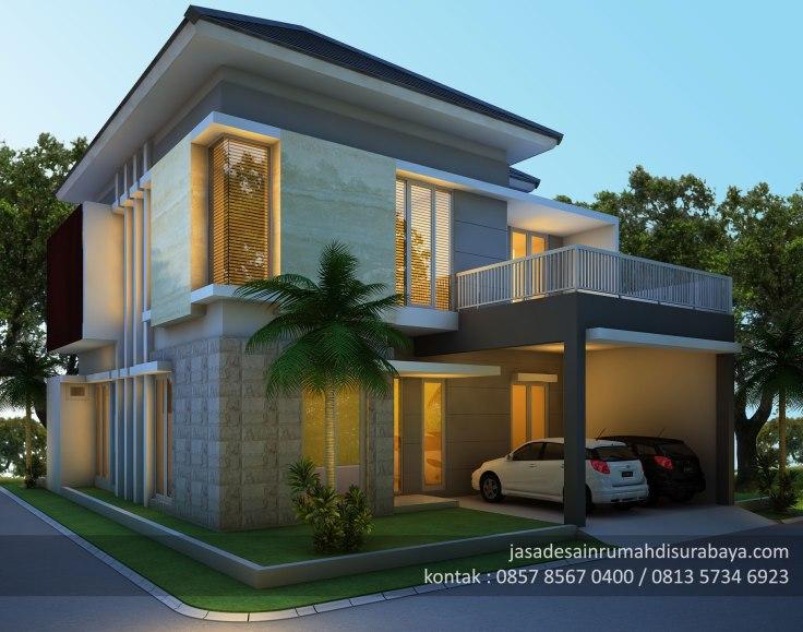 Jasa Desain Rumah Pojok 2 Lantai Sidoarjo Gambar
